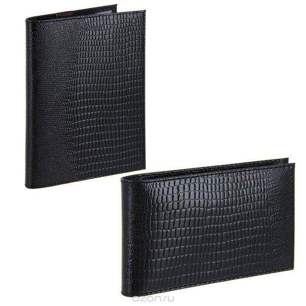 Подарочный набор : бумажник водителя, визитница, цвет: черный. bv.1.-3.black/v.30.-3.black, Befler