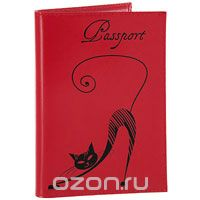 """Обложка для паспорта """"изящная кошка"""", цвет: красный. o.31.- 1, Befler"""