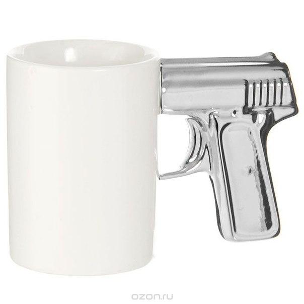 """Кружка """"пистолет"""", цвет: белый, серебристый, Эврика"""