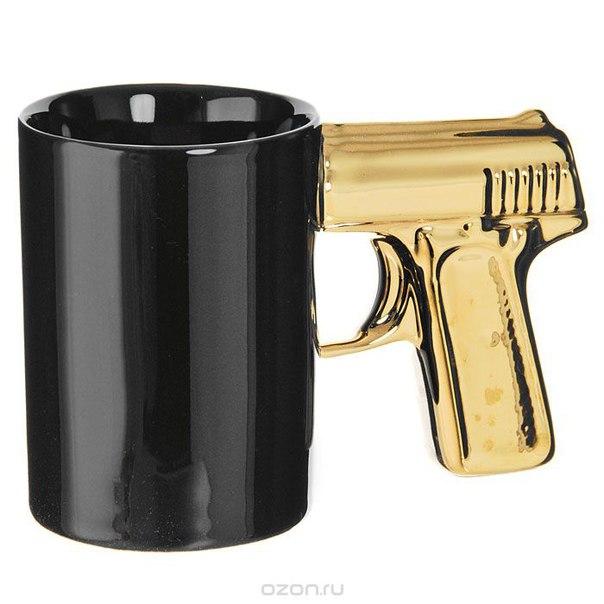 """Кружка """"пистолет"""", цвет: черный, золотистый, Эврика"""