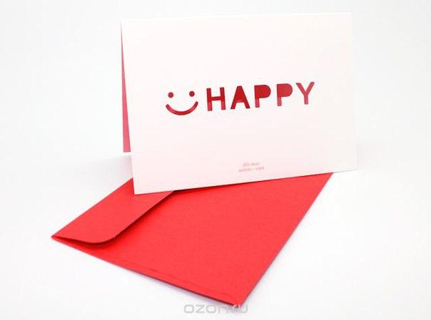 """Открытка """"happy"""", Ezh-style"""