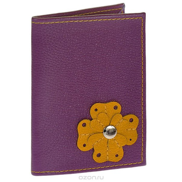 """Обложка для автодокументов """"цветочек"""", цвет: фиолетовый, желтый. oa-45-2, Cheribags"""