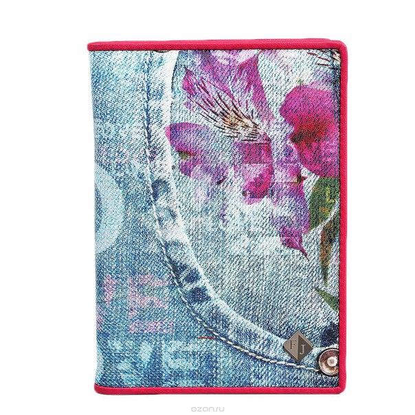 """Обложка для паспорта gold """"jeans"""", цвет: голубой, розовый. 306-14183, Flioraj"""