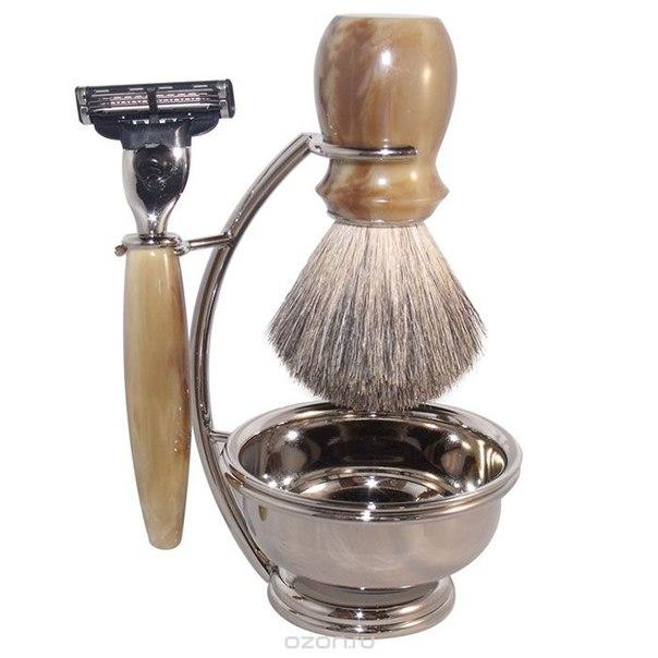 Бритвенный набор , цвет: серебряный, с иммитация под рог. 6516, S.Quire