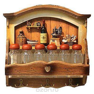 """Коллаж-вешалка """"винный набор"""" с полочкой для специй. 32407, Win Max Ent."""