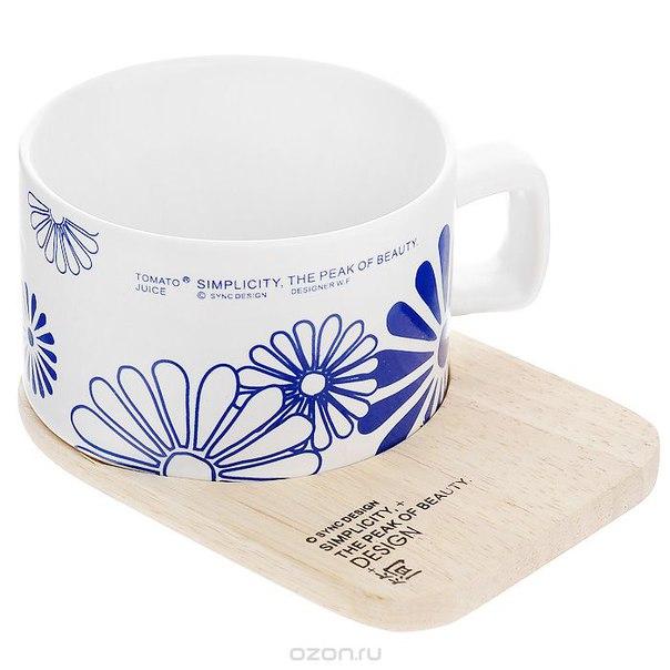 """Кружка """"синие цветы"""", с деревянной подставкой, Ezh-style"""