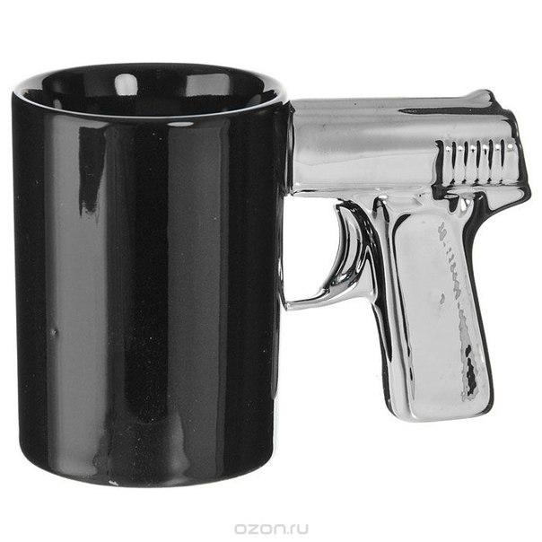 """Кружка """"пистолет"""", цвет: черный, серебристый, Эврика"""