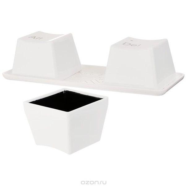 """Набор пиал """"ctrl-alt-del"""", цвет: белый, 4 предмета, Эврика"""