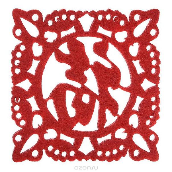 """Набор костеров """"иероглифы"""", цвет: красный, 6 шт, Карамба"""