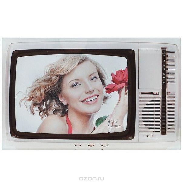 "Фоторамка декоративная ""телевизор"", цвет: белый, 15 см х 10 см. 94652, Эврика"