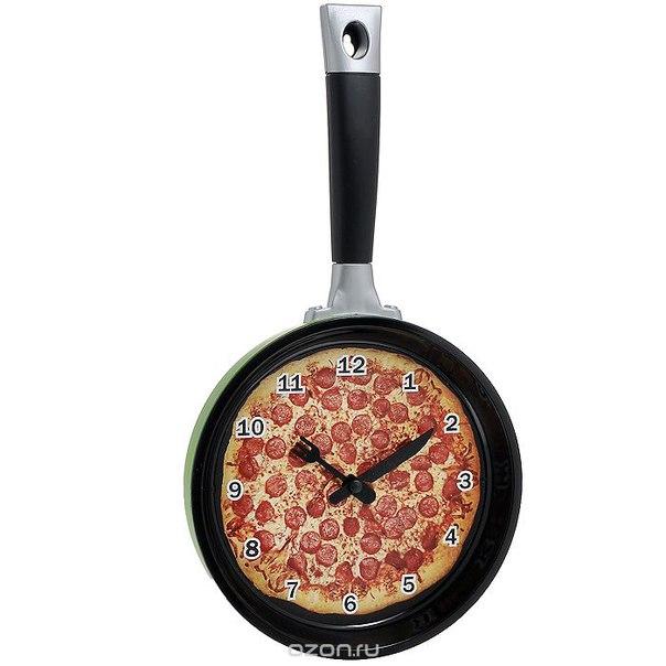 """Часы настенные """"сковородка с пиццей"""", цвет: салатовый, черный. 94434, Эврика"""