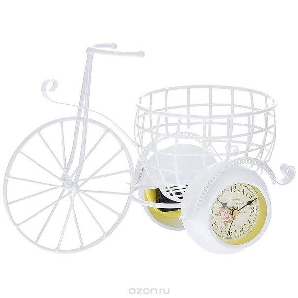"""Часы настольные перфекто """"велосипед"""", цвет: белый, с подставкой под кашпо. t1003, Перфекто / Perfecto"""