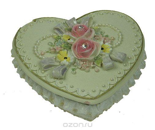 "Шкатулка ""весенние цветы"", цвет: бежевый, 8,5 см х 8 см х 5 см. 124687, Win Max"