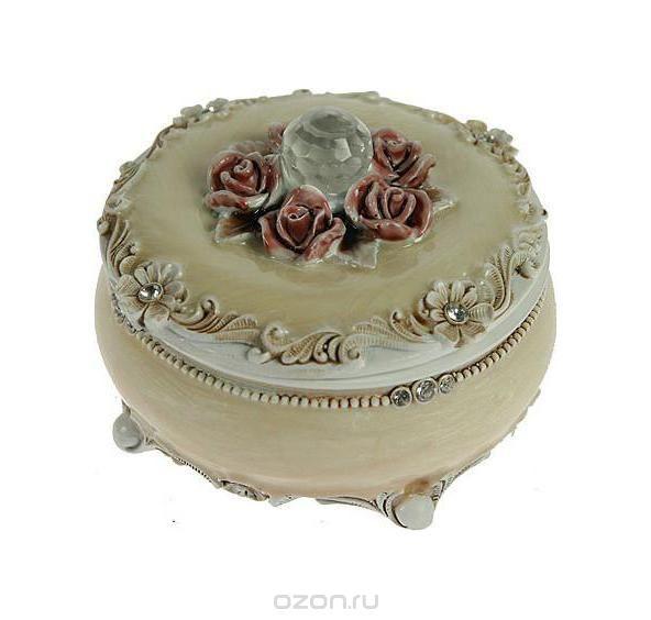"""Шкатулка """"розы"""", цвет: бежевый, 9 см х 9 см х 6 см. 224845, Русские подарки"""