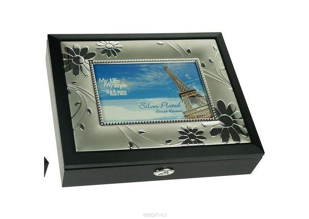"""Шкатулка ювелирная """"moretto"""", с фоторамкой, цвет: черный, 24 см х 19 см х 5 см. 139550, Русские подарки"""