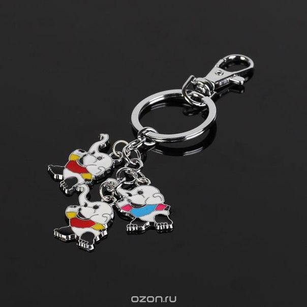 """Брелок """"слоники в футболках"""", цвет: белый, красный. fh30368, Fashion House"""