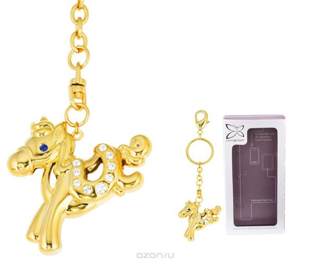 """Брелок """"лошадка"""", цвет: золотистый, Crystocraft"""