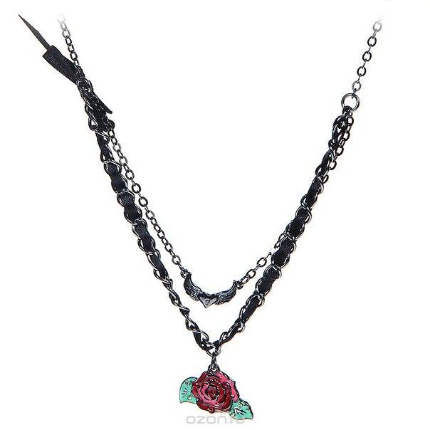 """Подвеска на шею """"роузи рокет (страсть к жизни)"""", цвет: черный, красный. klf165, Kimmidoll"""