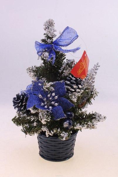 """Декоративное украшение """"новогодняя елочка"""", цвет: зеленый, синий, белый, высота 20 см. 538795, Sima-land"""