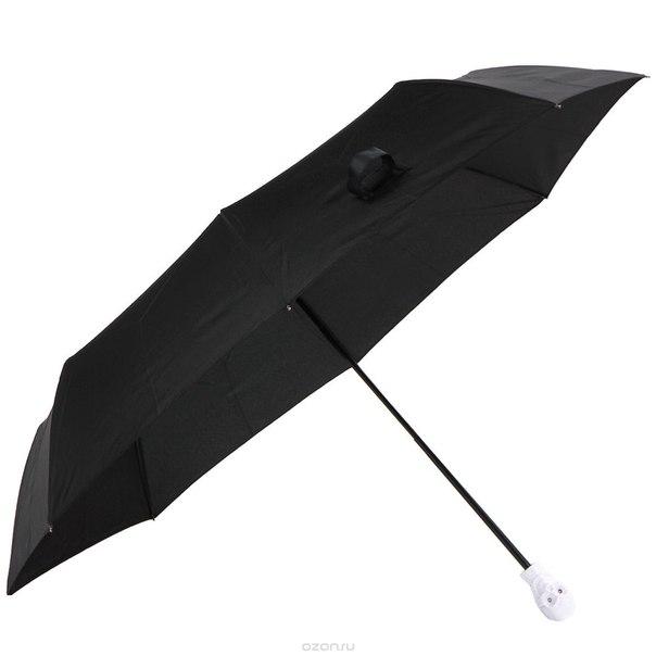 """Зонт мужской """"белый череп"""", механический, 3 сложения, цвет: черный. 94828, Эврика"""