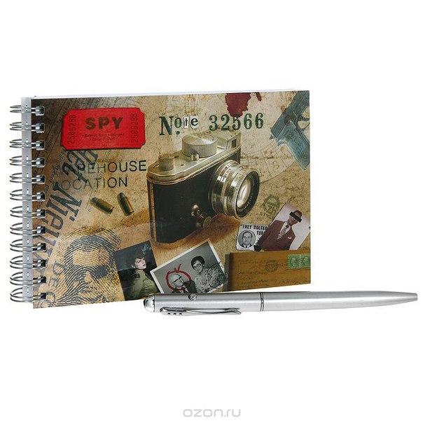 """Набор """"spy note"""": блокнот, ручка с невидимыми чернилами ультрафиолетовым фонариком. 0101004, Ezh-style"""