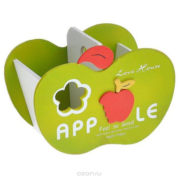 """Подставка для ручек """"яблоко"""", деревянная, цвет: зеленый, Карамба"""