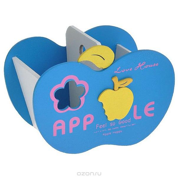 """Подставка для ручек """"яблоко"""", деревянная, цвет: синий, Карамба"""