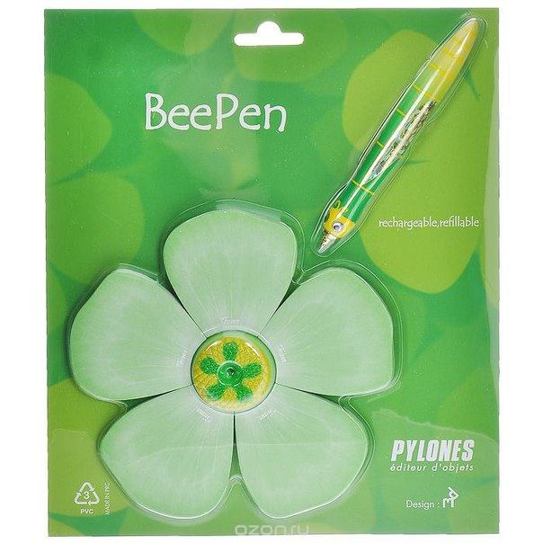 """Ручка  """"bee"""" с подставкой-блокнотом, цвет: зеленый, Pylones"""