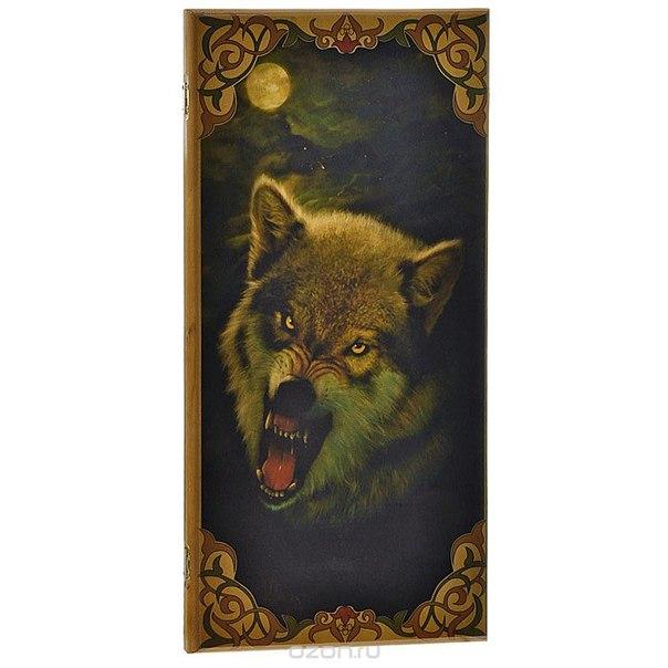"""Игровой набор 2в1 """"волк"""": нарды, шашки. 085b, ИП Гурина"""