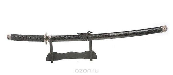 """Сувенирное оружие """"катана"""", на подставке, цвет: стальной, черный, длина 70 см. 417137, Sima-land"""