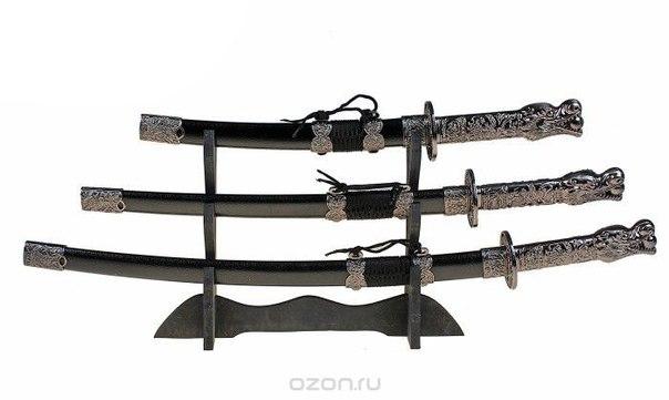 """Набор сувенирного оружия """"катаны"""" с подставкой, цвет: черный, 3 шт. 454259, Sima-land"""