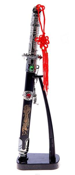 """Сувенирное оружие """"мини-катан в ножнах"""", на вертикальной подставке, цвет: стальной, черный, длина 25 см. 505096, Sima-land"""