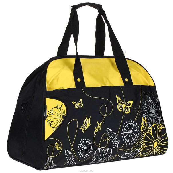 Сумка дорожная женская , цвет: черный, желтый. td-409-4/1, Grizzly