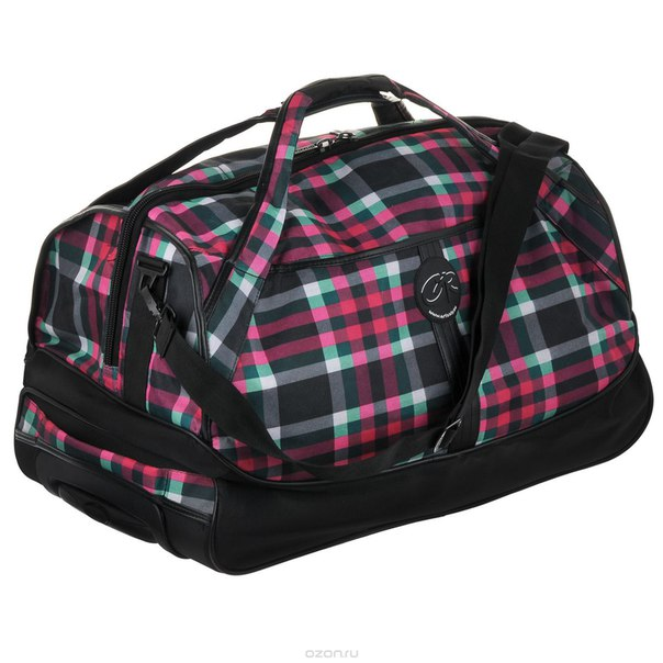 Сумка дорожная , с выдвижной ручкой, на колесах, цвет: черный, розовый, зеленый. tl-412-3, Grizzly