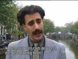 Borat walks in Amsterdam