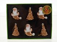"""Украшение подвесное """"зимняя сказка"""", дед мороз и елочка, золотистый (6 штук), Monte Christmas"""