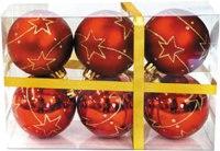 Набор шаров, 6 штук (цвет: красный), арт. 971071, Новогодняя сказка
