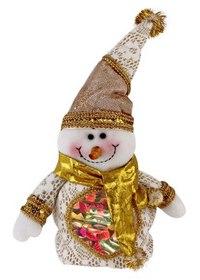 """Мешок для подарков """"снеговик"""", 30 см (золотистый), Новогодняя сказка"""