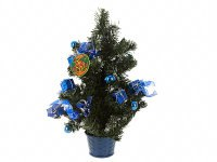 Ель новогодняя с синими украшениями, 52 см, Monte Christmas