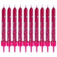 Набор глиттерных свечей, розовые, 10 штук, Wilton