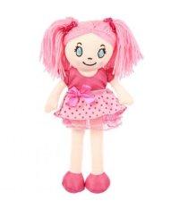 Кукла мягконабивная, 30 см, в розовом платье в горошек, с розовыми волосами, Игруша