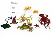 Набор резиновых зверей. 11 см. морской мир. 9 штук. арт. ocean animal арт. s711/2, Shenzhen Jingyitian Trade Co., Ltd.