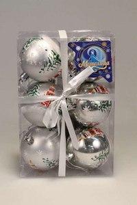Шар новогодний, серебристый (6 штук), Метелица