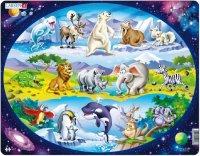 """Пазл """"планета животных """", 15 деталей, Larsen (игрушки)"""