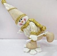 """Кукла """"снеговик на снежинке"""", 35 см (золотистая), Новогодняя сказка"""