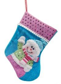 """Носок подарочный """"снеговик"""", 23 см (голубой), арт. 949148, Новогодняя сказка"""