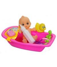 Пупс в наборе, с аксессуарами и ванночкой, Игруша