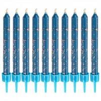 Набор глиттерных свечей, синие, 10 штук, Wilton