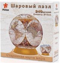 """Шаровый пазл """"старинная карта мира"""" (240 деталей, 15 см), Pintoo"""