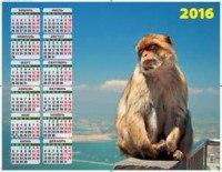 Символ года. планета обезьян. календарь настенный листовой на 2016 год